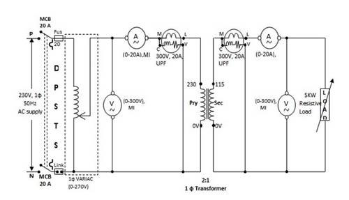 load test on single phase transformer