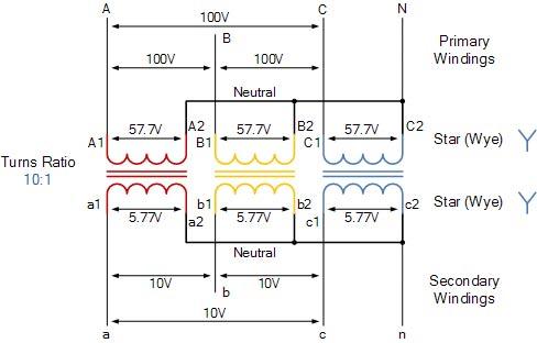 three phase transformer diagram
